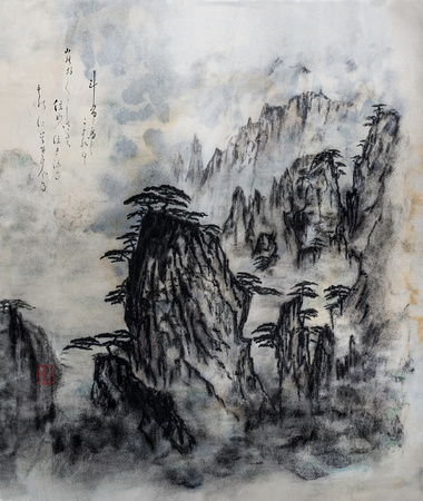 OA089b sumi-e chinese mountain in charcoal ink TK012 tobutorimo2 27x32@360 zf -1105-6-7-8-9-10-1-2-3